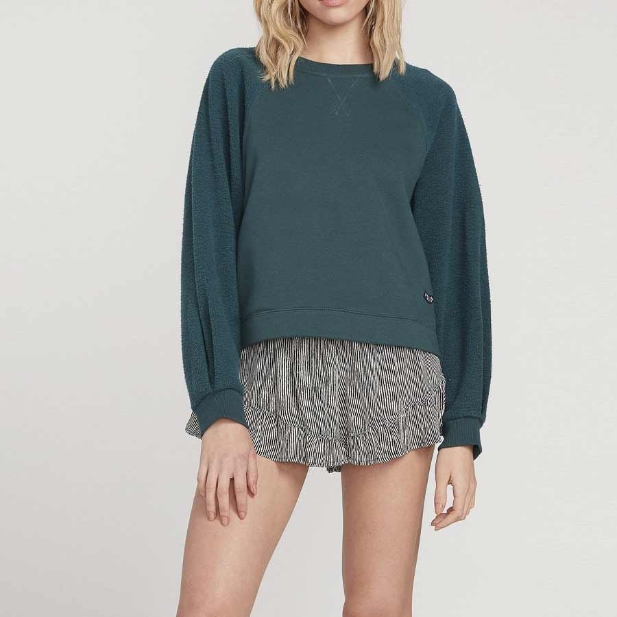Sweat Femme VOLCOM Brushishm Fleece Emerald Green