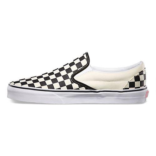 Classic On White Chaussures Vans Black Checker Slip FKJcl1