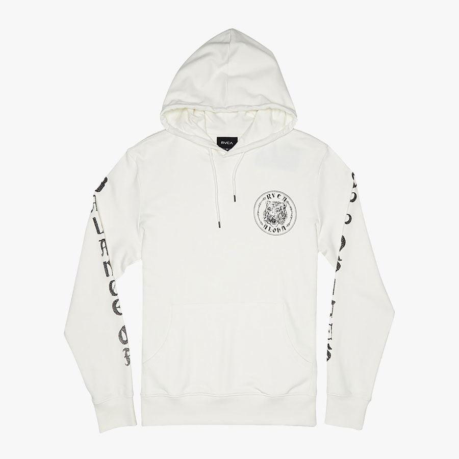 Sweat à capuche RVCA Alohatiger Antique White