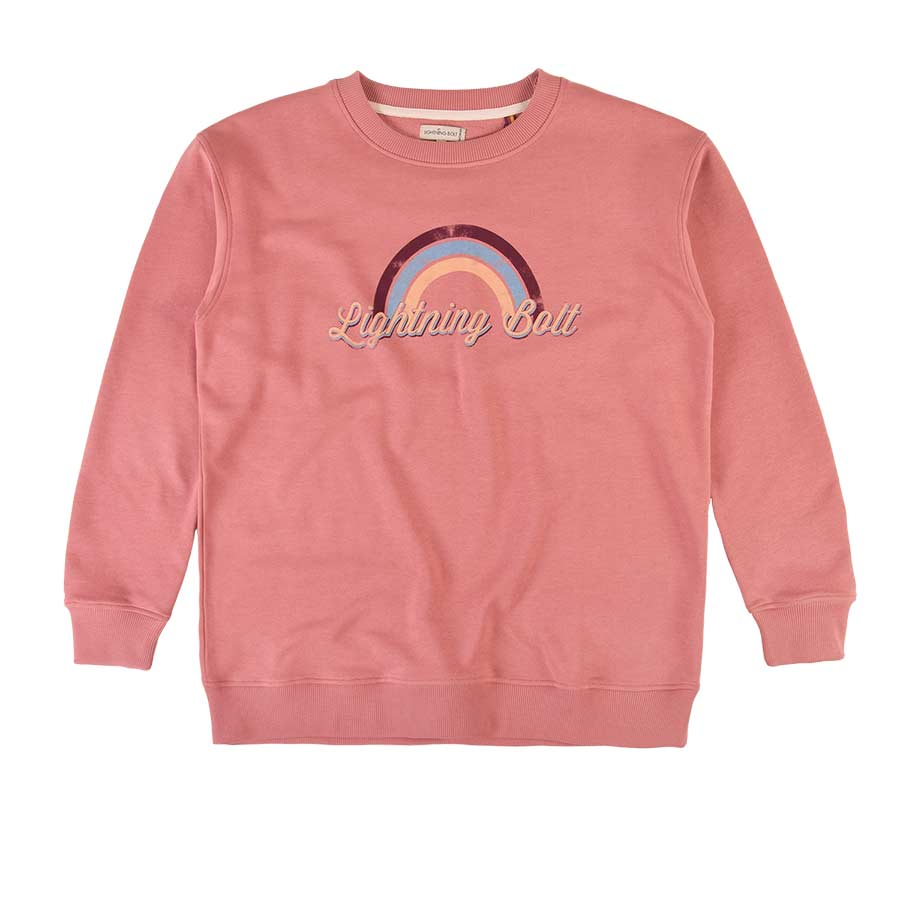 Sweat LIGHTNING BOLT Rainbow Fleece Crew Ash Rose