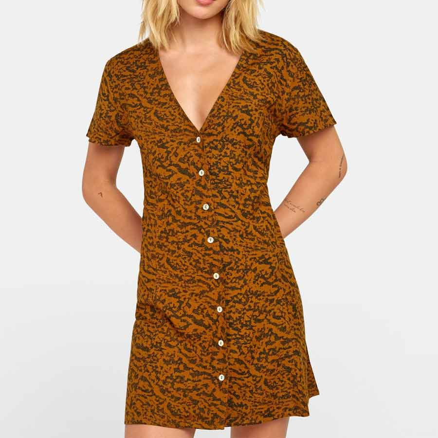 Robe RVCA Guilt Dress Antique Bronze