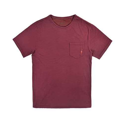 T-Shirt LIGHTNING BOLT Striped Lava Tee Ruby Wine